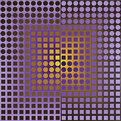 zoeld violet/yellow by victor vasarely