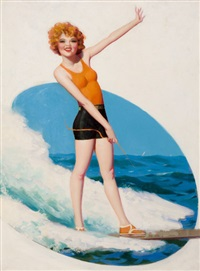 clara bow surfing, film fun magazine cover, august by enoch bolles