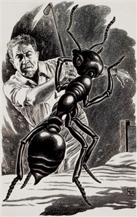 the large ant, interior story illustration by virgil finlay