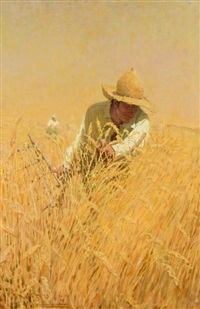 harvesting the wheat (illus. for outing magazine) by harvey t. dunn