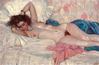 reclining nude by harvey t. dunn