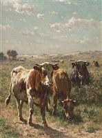 cows in the pasture by johannes hubertus leonardus de haas