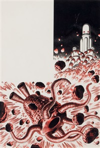 asimov's science fiction magazine interior illustration, april-may by virgil finlay
