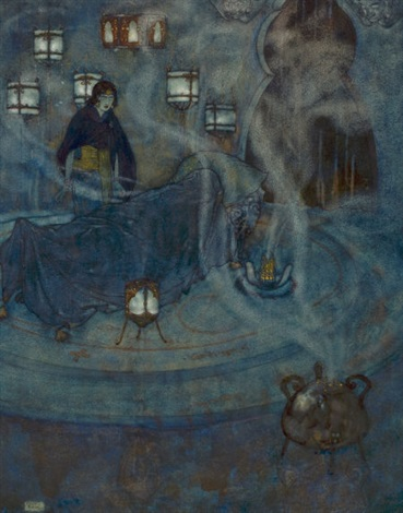 the queen of the ebony isles stories from the arabian nights book illustration by edmund dulac