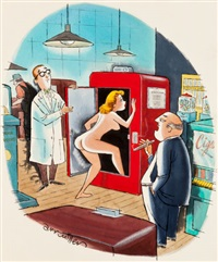 well, we'll give it a try, but i don't think many men carry two dollars in change, playboy cartoon illustration, page 61 by arv miller