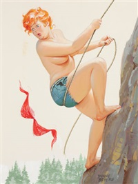 hilda rock climbing, hardware calendar illustration by duane bryers