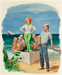it started when the crew voted you, the girl we'd most like to be marooned on a desert island with, then we got to thinking, playboy cartoon illustration, page 106 by chuck miller