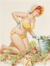 hilda weeding the garden, hardware calendar illustration by duane bryers