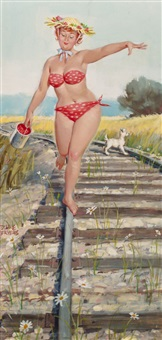 hilda walking the tracks, brown & bigelow calendar illustration by duane bryers