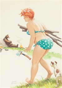 hilda's unexpected company, calendar pin-up illustration by duane bryers