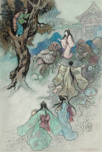 untitled (illus. for the sea king and the magic jewels, green willow and other japanese fairy tales) by warwick goble