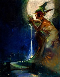 the spirit of new york (cover study for judge magazine) by walter dean goldbeck