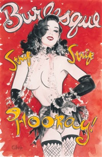 dita von teese, burlesque: strip, strip, hooray, poster and program study for her tour by olivia de berardinis