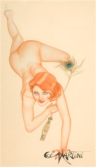 nude with peacock feather by joseph f. de martini