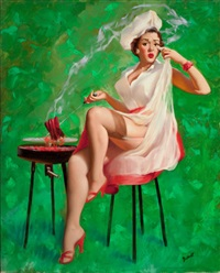 pin-up with bbq grill by peter darro