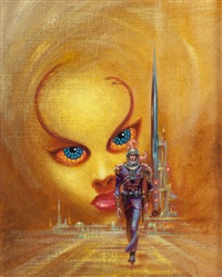 the hard way up, ace double edition paperback cover by kelly freas