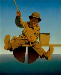 fisherman on pier, life magazine cover by maxfield parrish