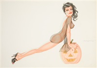 halloween pin-up by joseph f. de martini