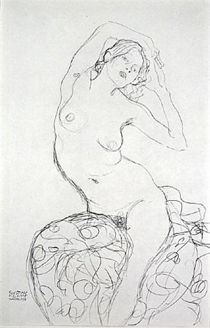 <u>seated nude</u> from fünfundzwanzig handzeichnungen by gustav klimt