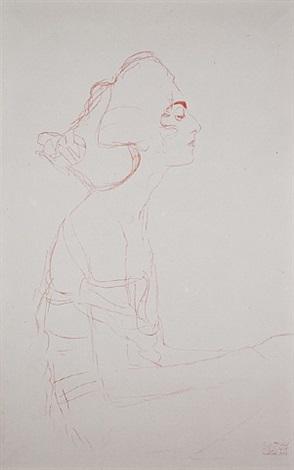<u>study for danae</u> (portrait study) from fünfundzwanzig handzeichnungen by gustav klimt