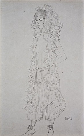 <u>standing girl with lace headdress</u> from fünfundzwanzig handzeichnungen by gustav klimt