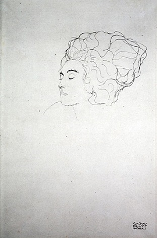 <u>lady in three quarter profile</u> from fünfundzwanzig handzeichnungen by gustav klimt