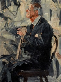 seated man with cane by harvey t. dunn