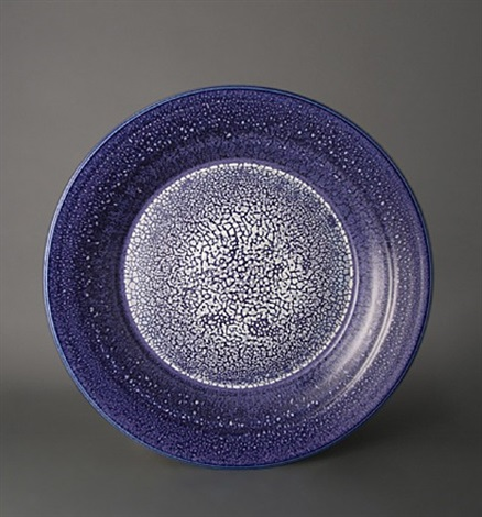 large decorative plate, textured blue and white glaze by brother thomas