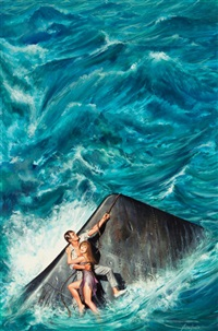 stranded at sea (illus. for men's adventure magazine) by john duillo