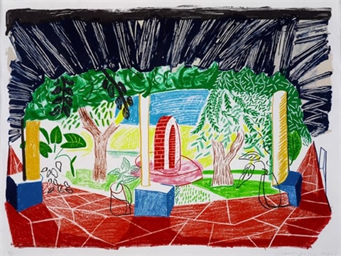 view of hotel well i from moving focus series by david hockney
