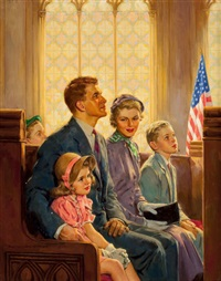family at church by harold n. anderson
