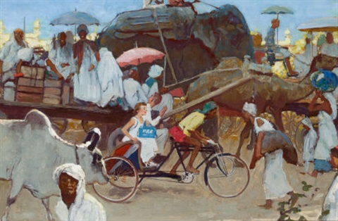 karachi pakistan study for unused pan american advertisement by norman rockwell