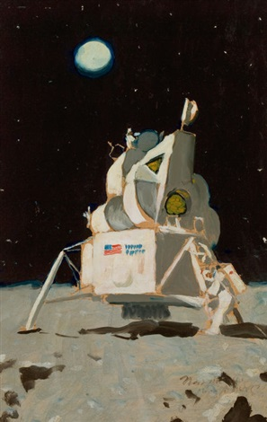 astronauts on the moon unpublished look magazine study by norman rockwell