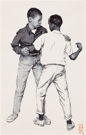 the scuffle dead end school book illustration by norman rockwell