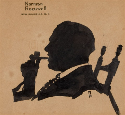 silhouette of william tommy thomas by norman rockwell