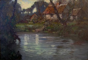 river scene with cottages, normandie by george ames aldrich