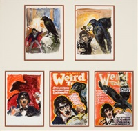 the raven, weird tales preliminary pulp covers (group of 5) by virgil finlay