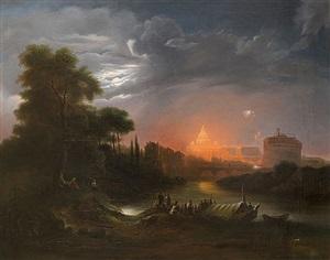 l'illumination de la basilique saint pierre et le château saint ange depuis les bords du tibre by jules coignet