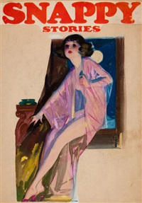 in the moonlight, snappy stories magazine (preliminary cover) by enoch bolles