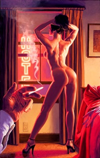hotel nights, american beauties pin-up by greg hildebrandt