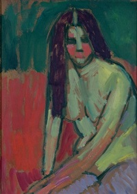 half-nude figure with long hair sitting bent by alexej jawlensky