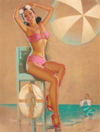 you'll be sitting pretty with enterprise electric company, brown & bigelow calendar pin-up by knute o. munson