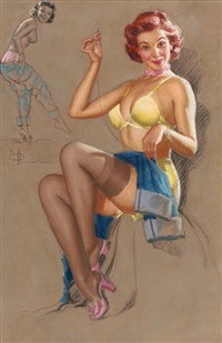 pin-up mending jeans by knute o. munson