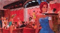 lake geneva playboy club interior with bunnies by larry fredericks