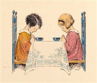 two children praying, a child's prayer interior book illustration by jessie willcox smith