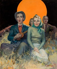 sitting in the moonlight, magazine cover by joe hennesy
