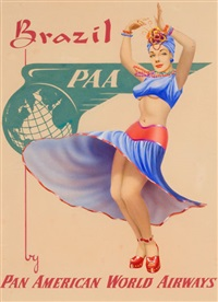 brazil by pan american world airways (advertising poster design) by cardwell spencer higgins