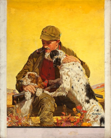Hunter With Dogs Cover Study For Outdoor Life By Joseph F Kernan On