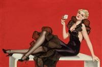 varga girl (elegant lady in black) by alberto vargas