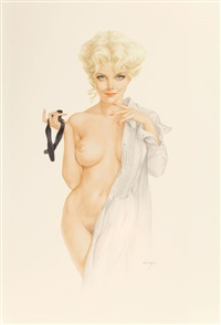 is this what they mean by having a formal affair?, vargas girl, playboy pin-up, january 1970 by alberto vargas